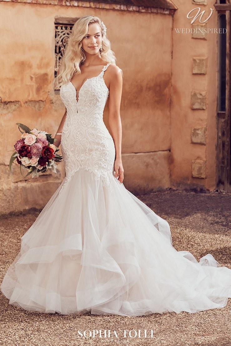 A Sophia Tolli lace and tulle mermaid wedding dress