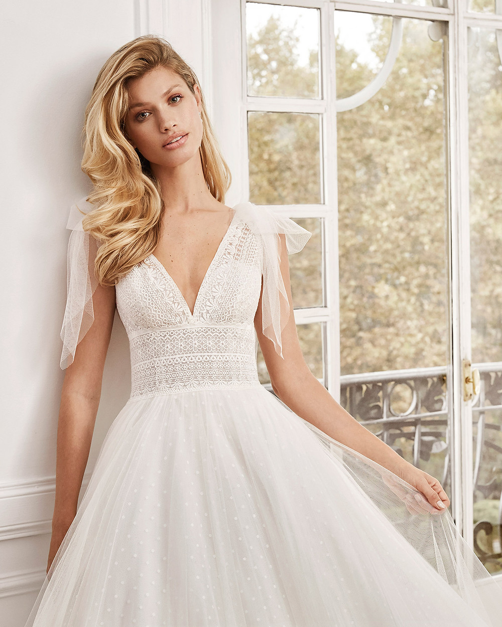 An Aire Barcelona 2020 lace and polka dot tulle A-line wedding dress