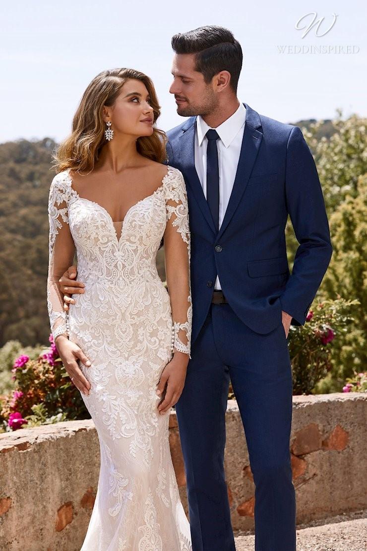 A Sophia Tolli lace mermaid wedding dress with sleeves