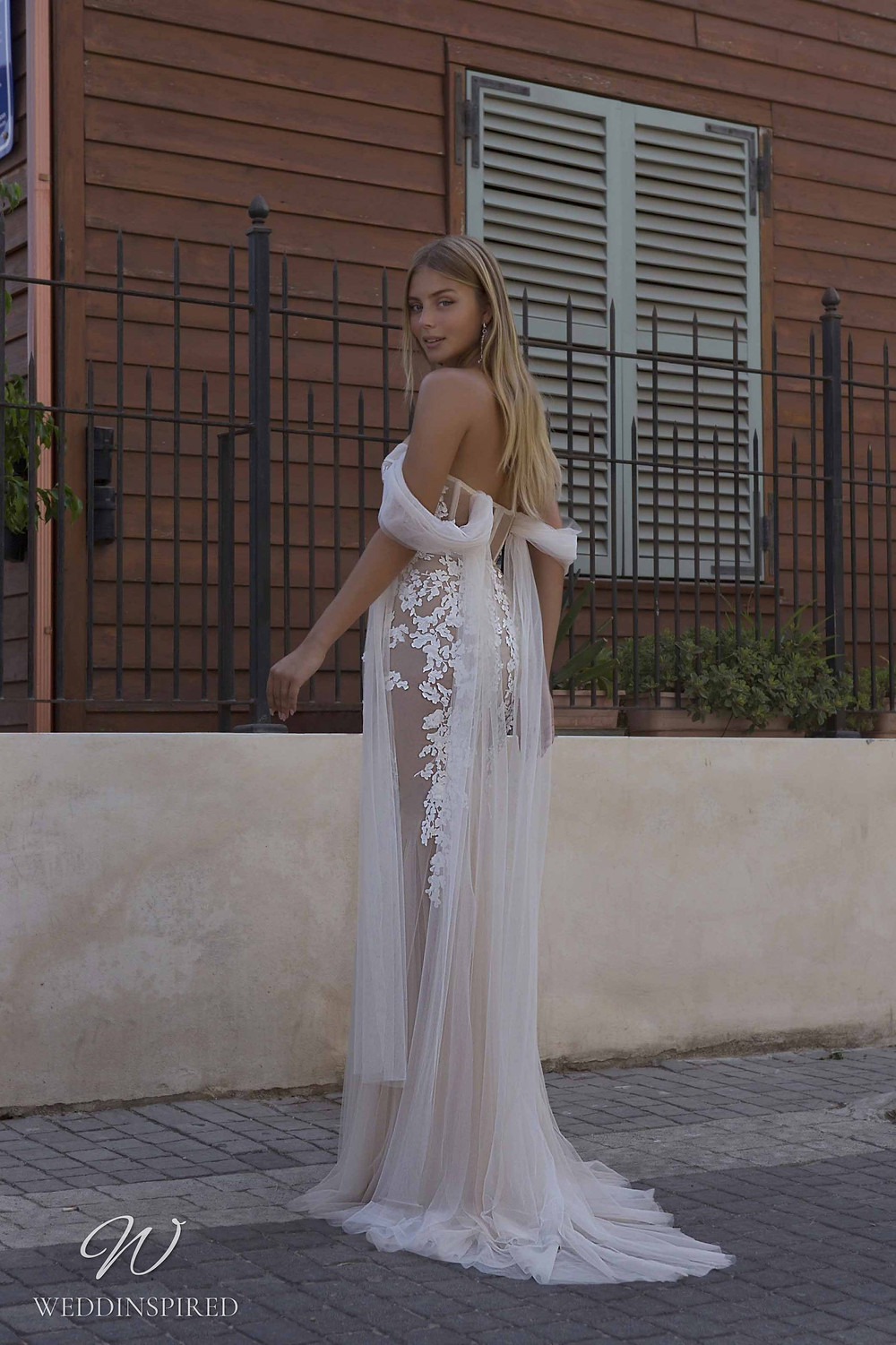 A Berta Priveé No 5 2021 nude off the shoulder lace and tulle mermaid wedding dress