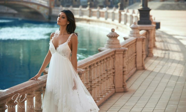 A Marchesa for Pronovias 2022 lace and mesh A-line wedding dress with thin straps and a v neck