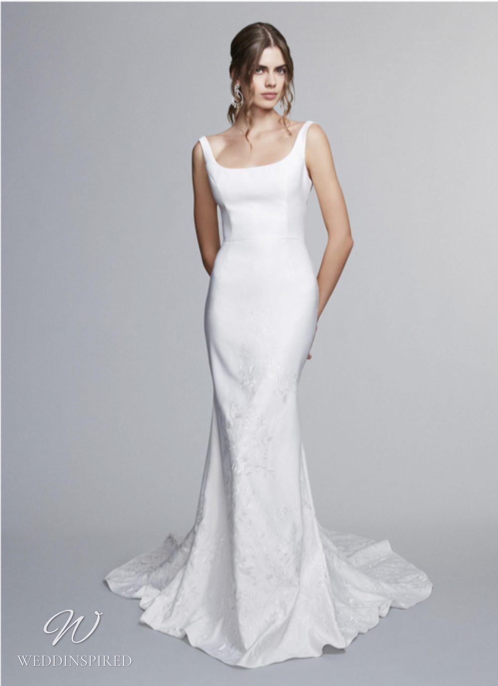 A Marchesa Notte Fall 2021 simple satin mermaid wedding dress with straps