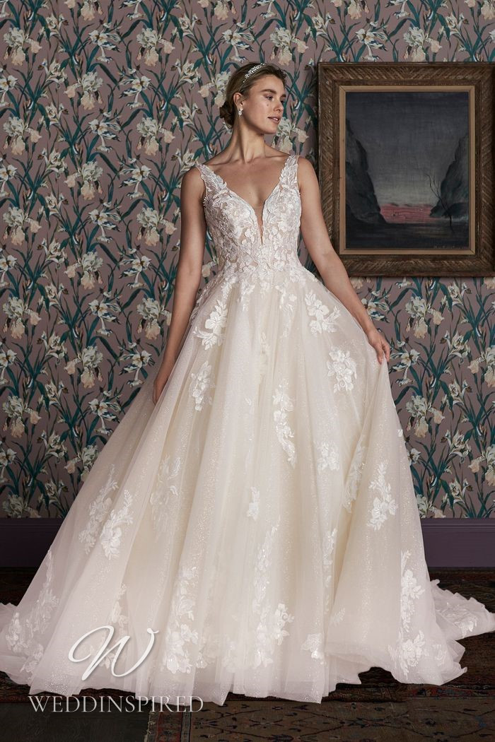 A Justin Alexander 2021 lace and tulle princess wedding dress