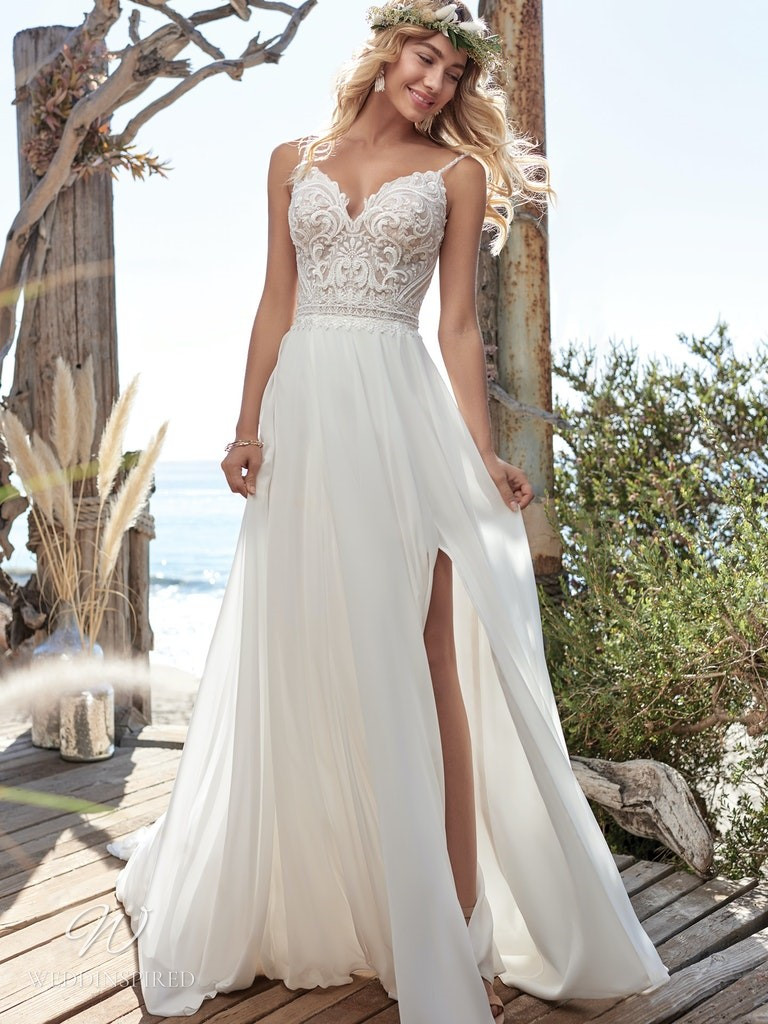 A Rebecca Ingram 2020 soft flowy lace and chiffon A-line wedding dress