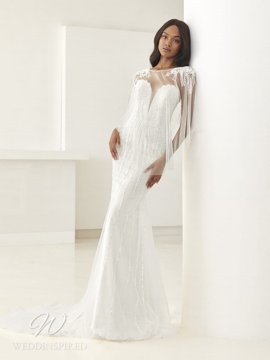 An Ashley Graham x Pronovias 2021 satin and beading strapless mermaid wedding dress