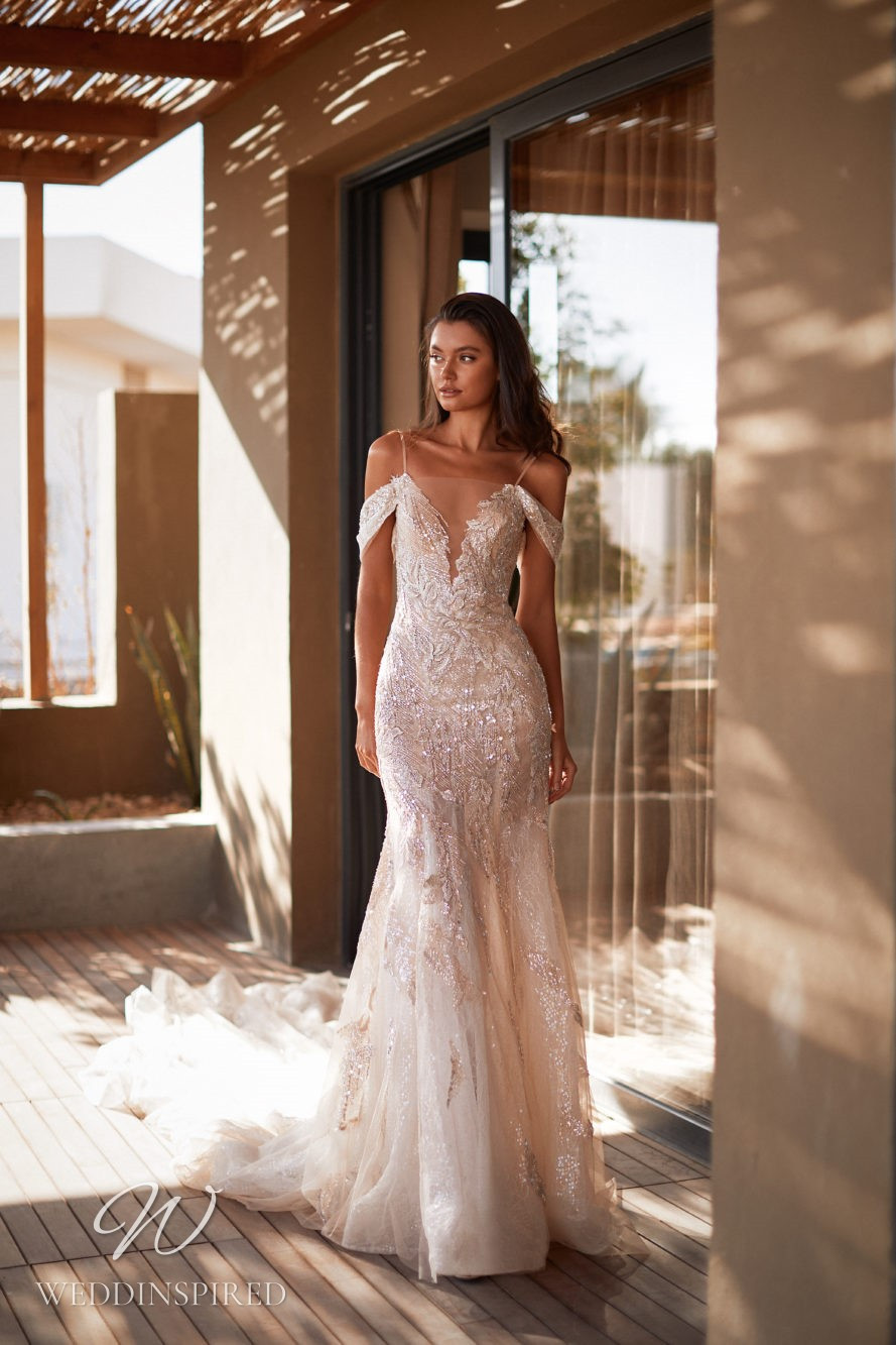 A Milla by Lorenzo Rossi 2021/2022 ivory lace off the shoulder mermaid wedding dress with a v neck