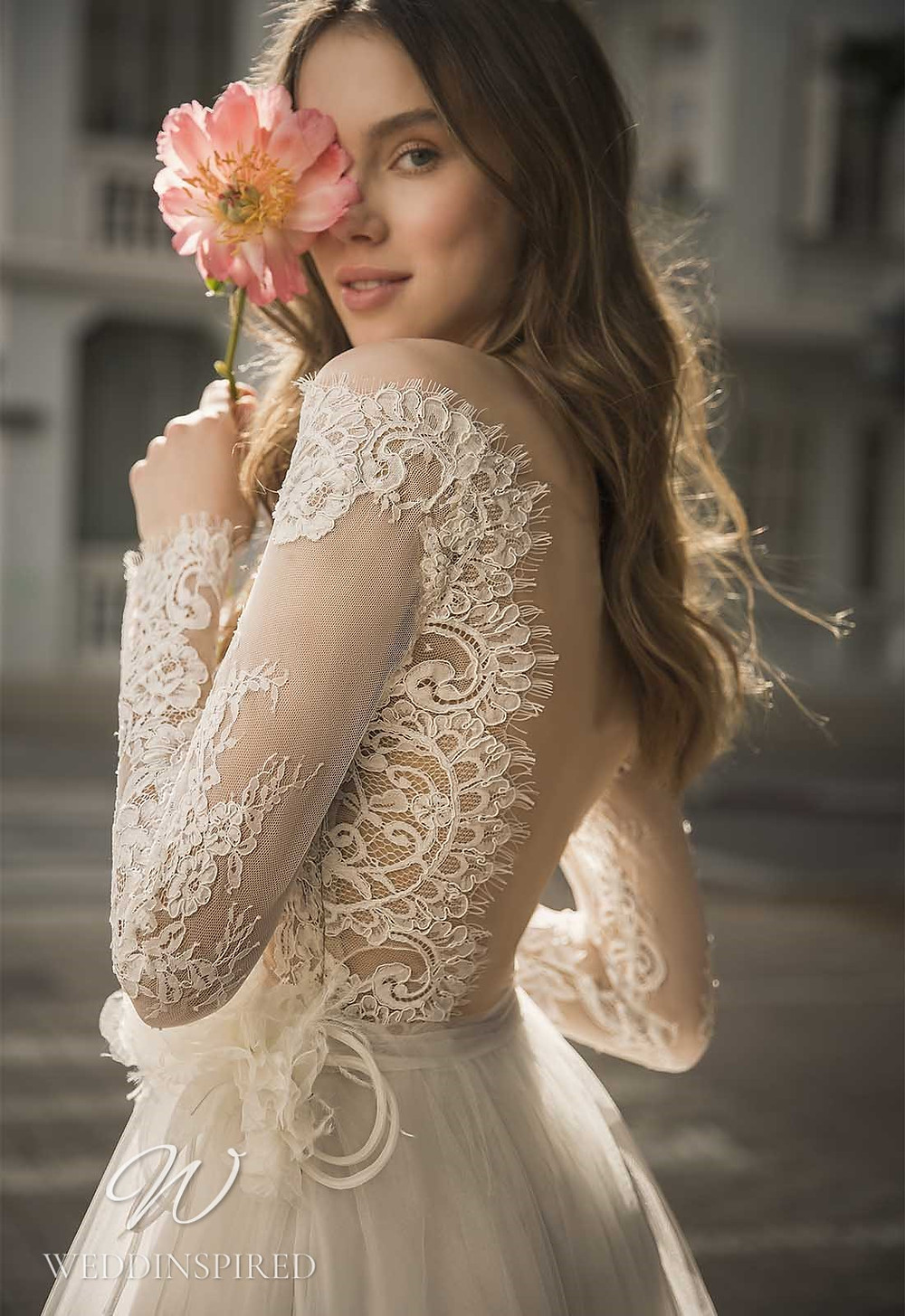 A Pnina Tornai 2021 lace and tulle A-line wedding dress