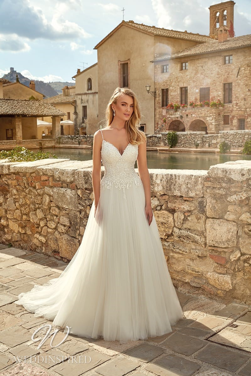 An Eddy K 2021 lace and tulle A-line wedding dress