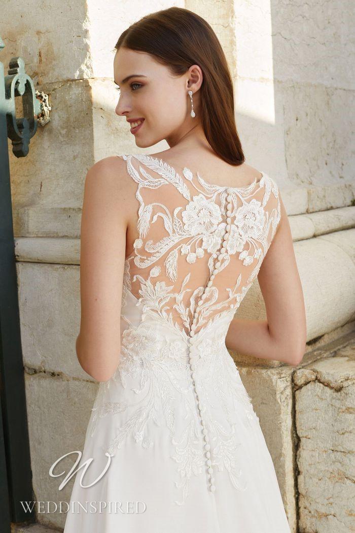 A Justin Alexander 2021 lace illusion A-line wedding dress