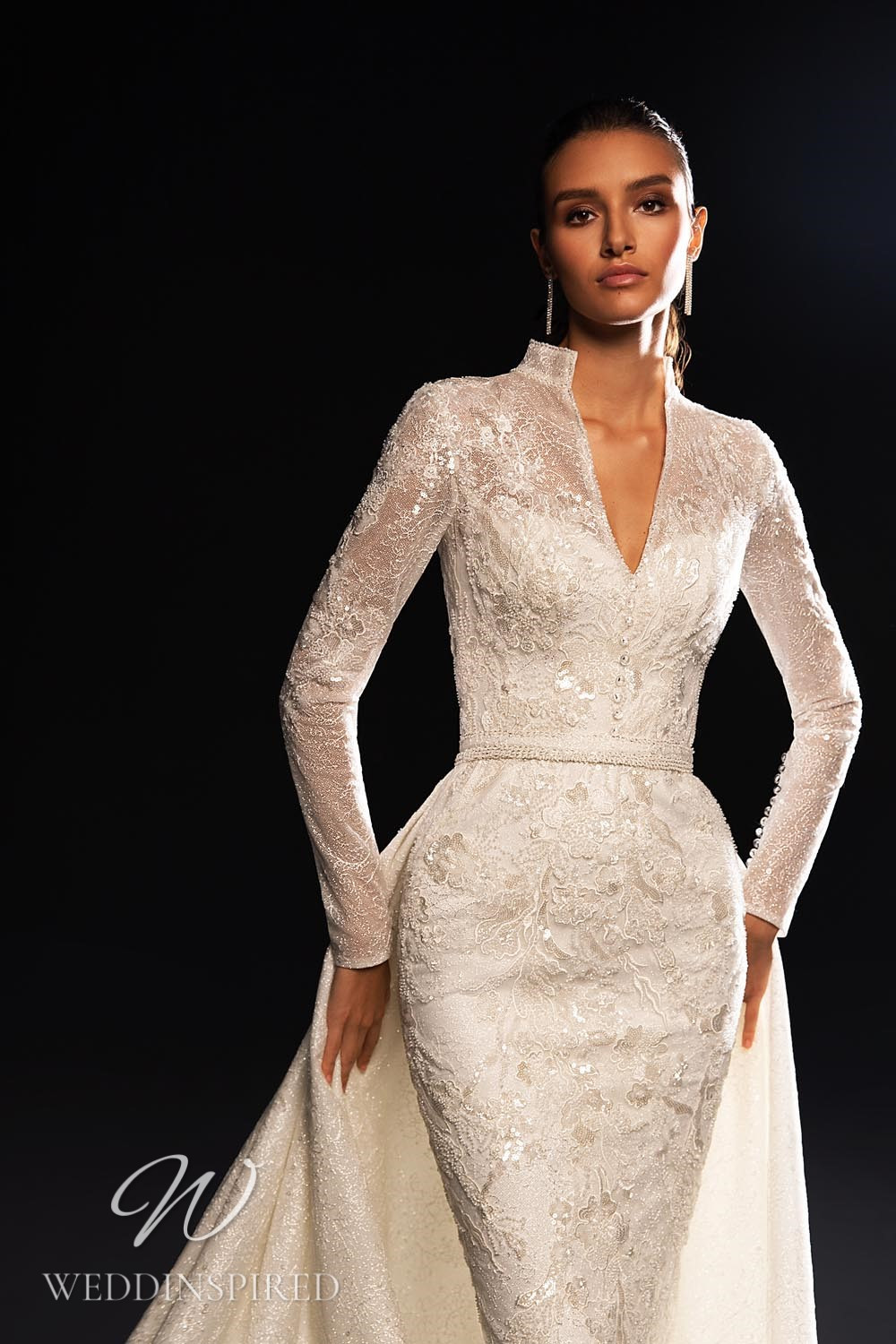 A WONÁ Concept 2021 lace mermaid wedding dress with long sleeves