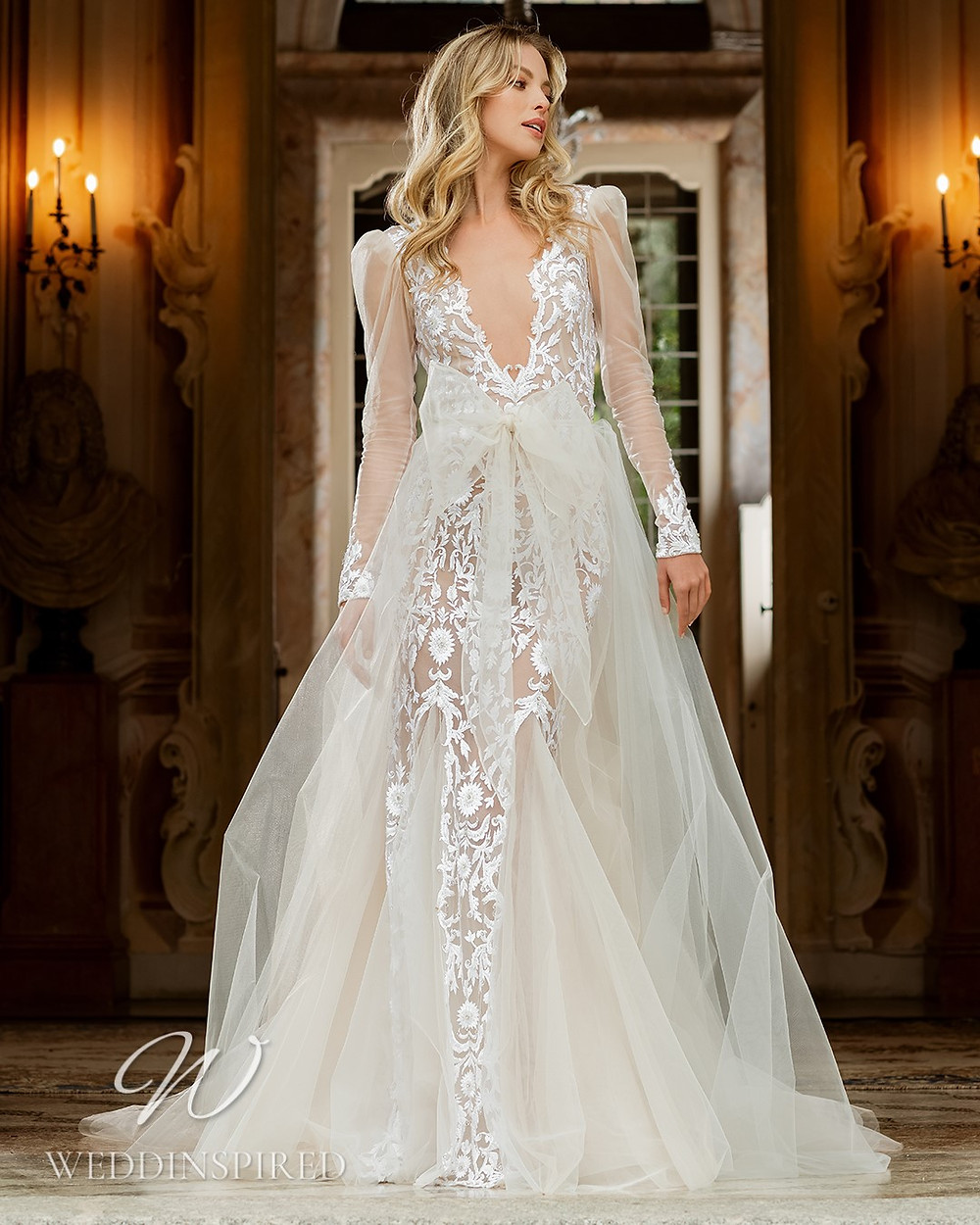 A Berta 2022 lace and tulle A-line wedding dress with long sleeves