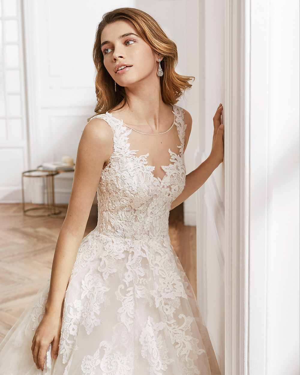 An Aire Barcelona 2020 lace and mesh ball gown wedding dress with an illusion neckline