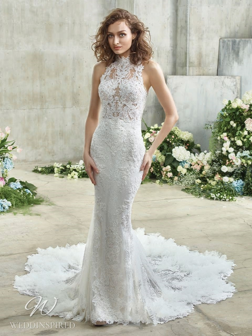 A Badgley Mischka lace halterneck mermaid wedding dress with a train