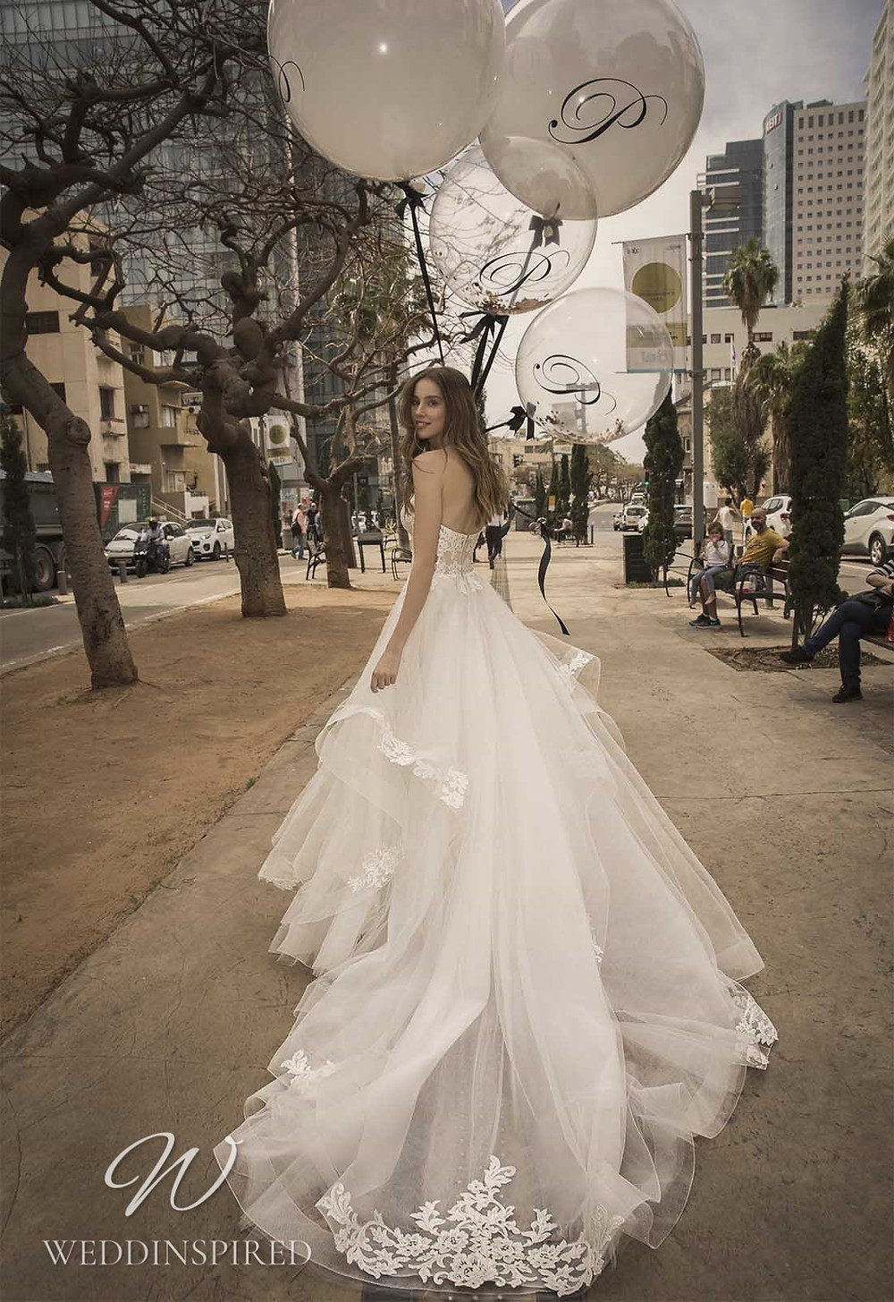 A Pnina Tornai 2021 strapless lace and tulle A-line wedding dress