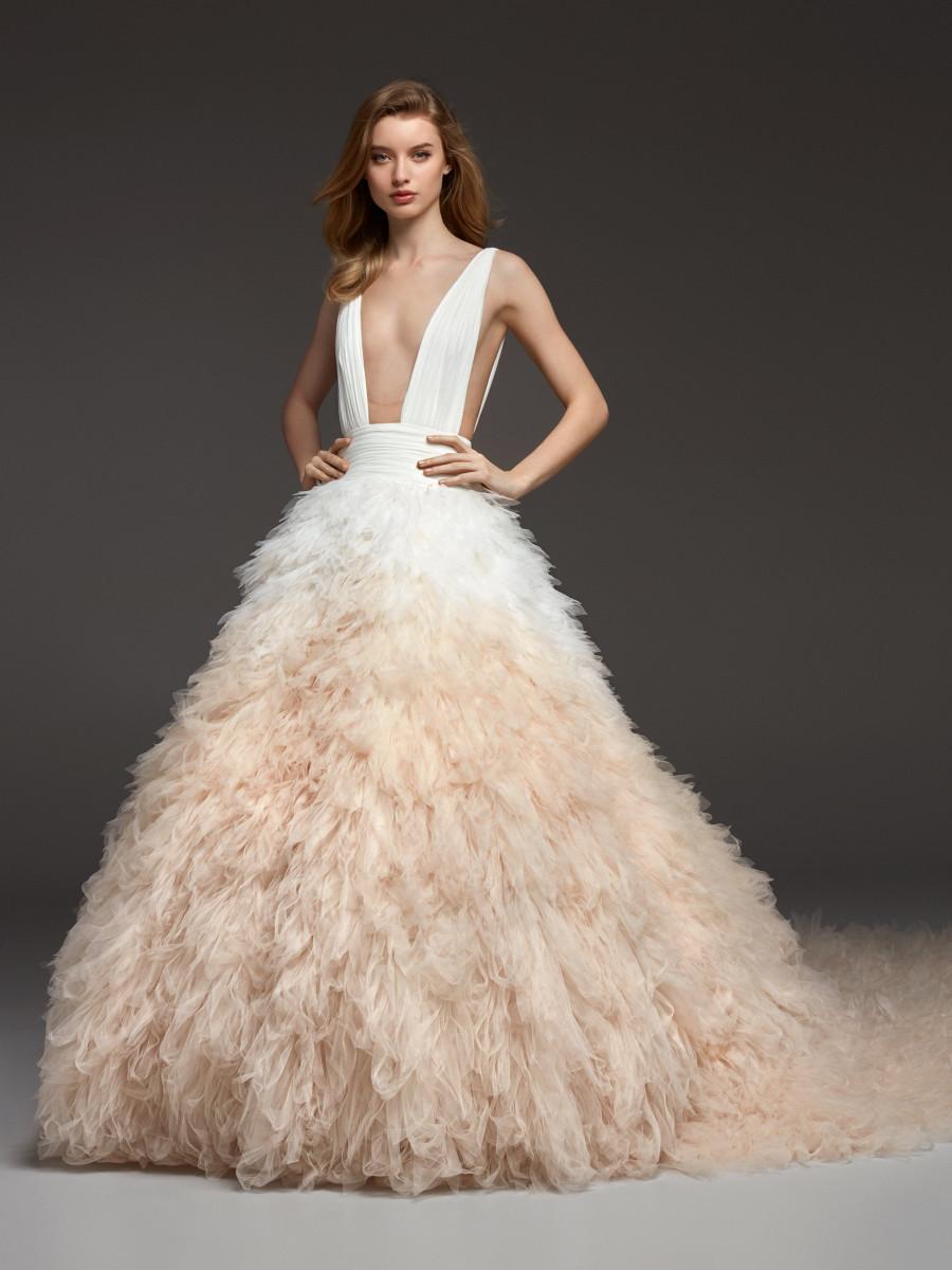 An Atelier Pronovias blush feathered tulle ball gown wedding dress