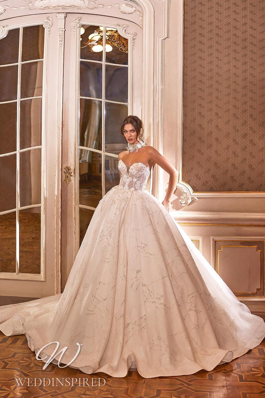 A Ricca Sposa 2022 strapless blush princess wedding dress