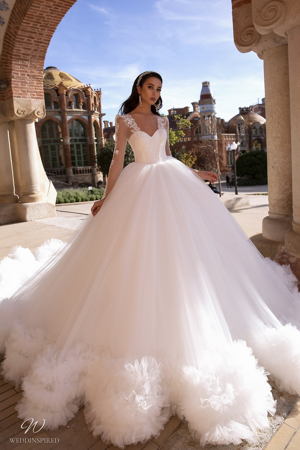 A Maks Mariano tulle princess ball gown wedding dress