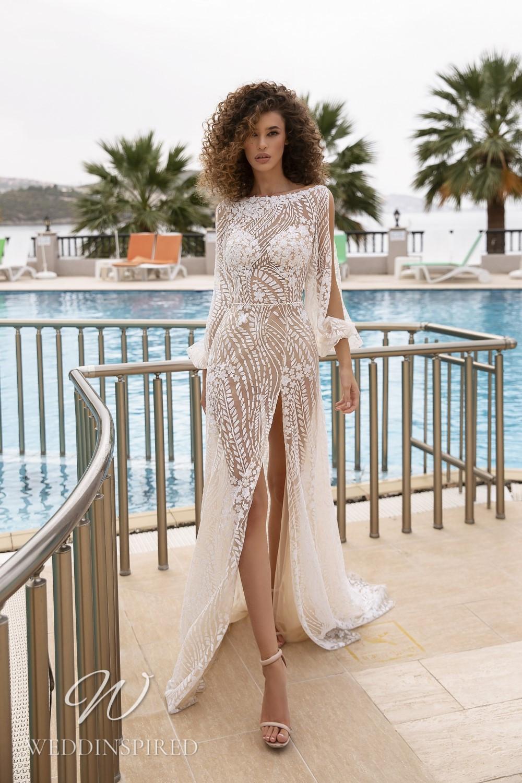 A Tina Valerdi beach lace sheath wedding dress