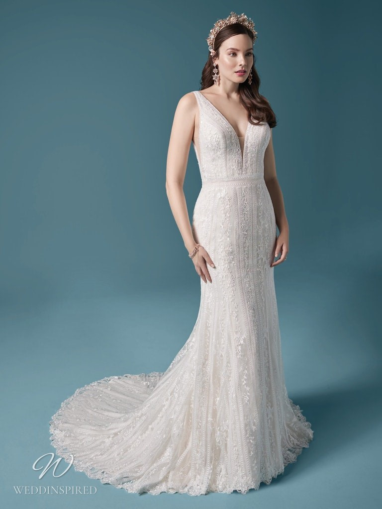 A Maggie Sottero 2021 lace mermaid wedding dress with v neckline