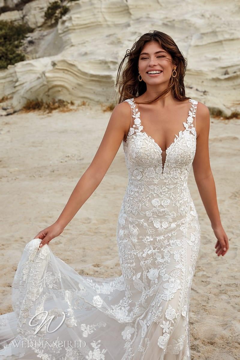An Eddy K 2022 lace mermaid wedding dress
