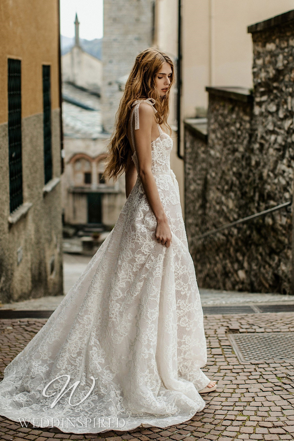 A Berta 2022 lace and tulle A-line wedding dress