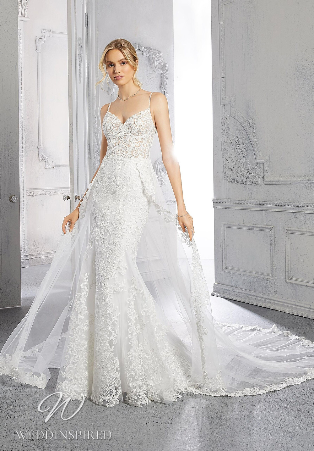 A Madeline Gardner lace mermaid wedding dress with a detachable skirt
