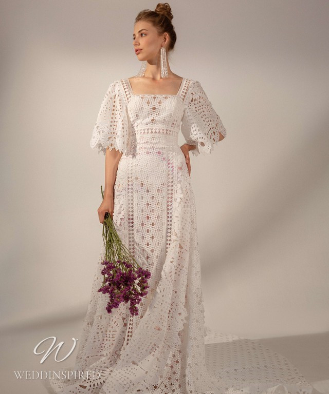 A Rara Avis 2021 boho lace A-line wedding dress with short bell sleeves