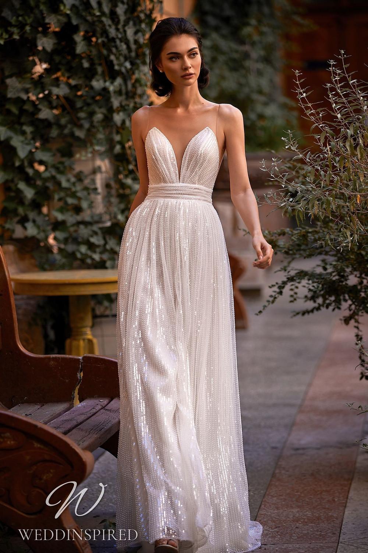 A Daria Karlozi 2021 sparkly A-line wedding dress