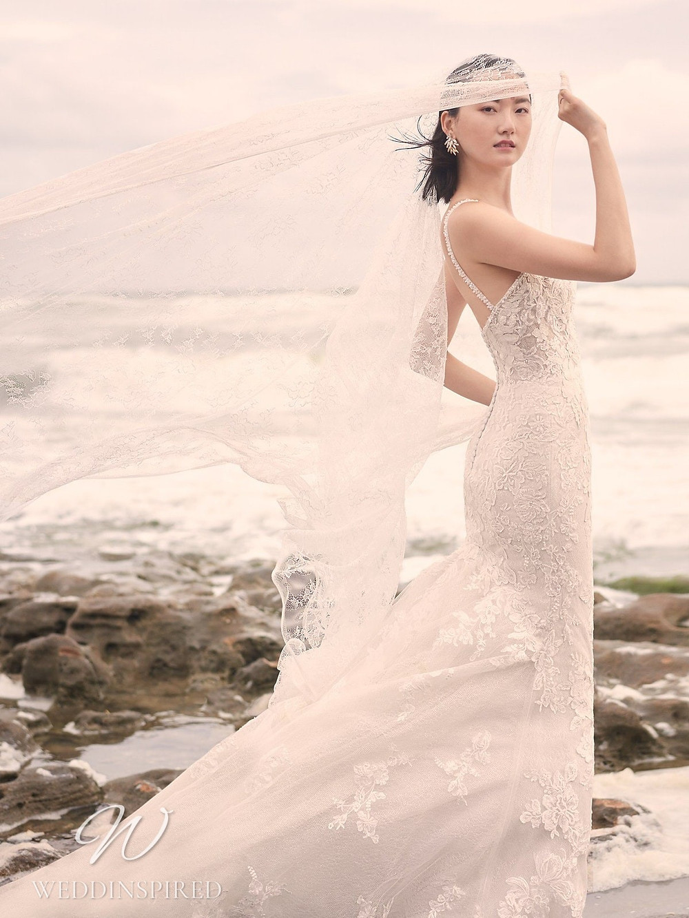 A Sottero & Midgley Spring 2021 lace mermaid wedding dress with thin straps