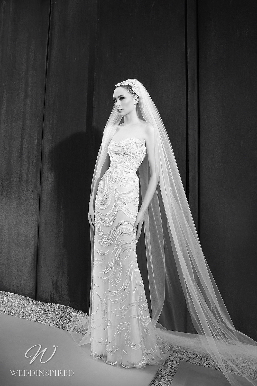 A Zuhair Murad Spring 2022 sparkly strapless tulle mermaid wedding dress