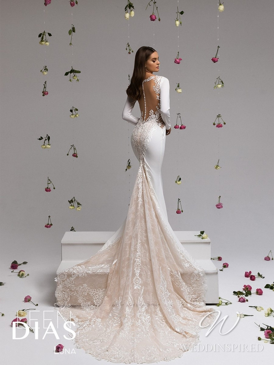 A Leen Dias 2021 backless satin and lace mermaid wedding dress with long sleeves