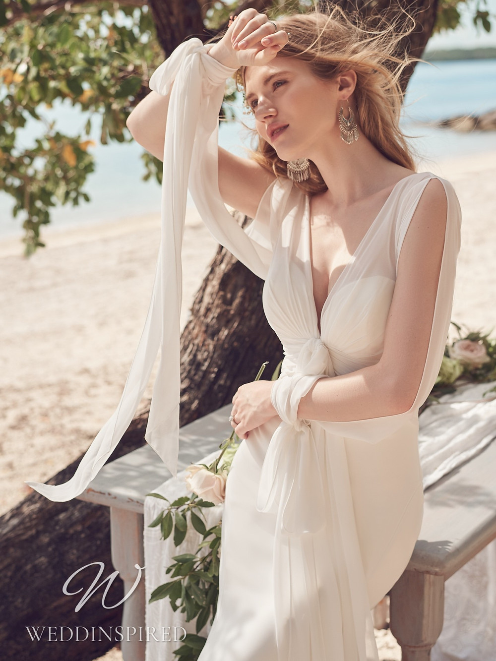 A Rebecca Ingram 2021 simple ivory boho chiffon mermaid wedding dress