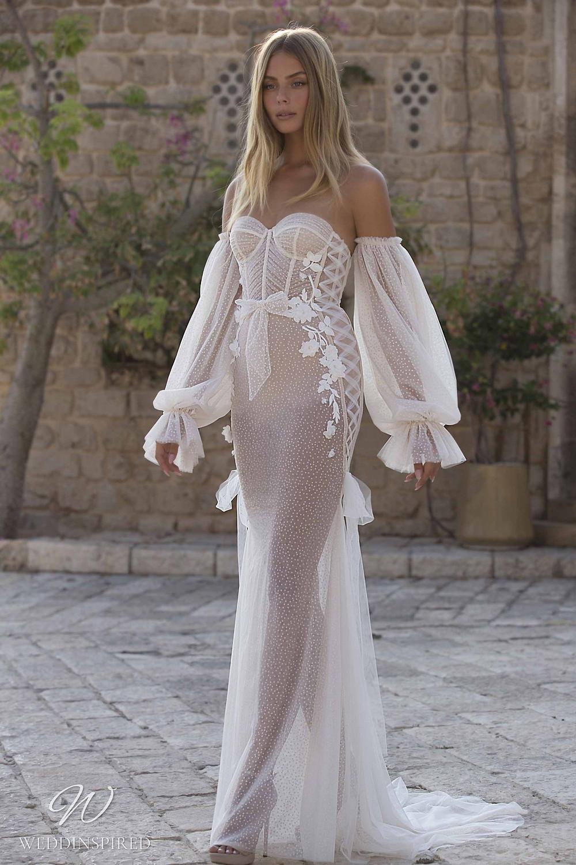 A Berta Priveé No 5 2021 nude strapless soft flowy mermaid wedding dress