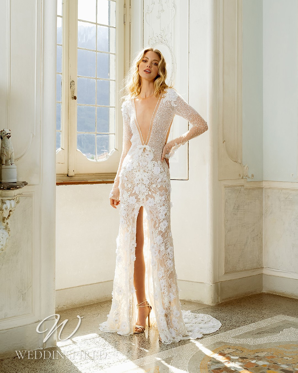 A Berta 2022 flowy tulle and lace boho A-line wedding dress