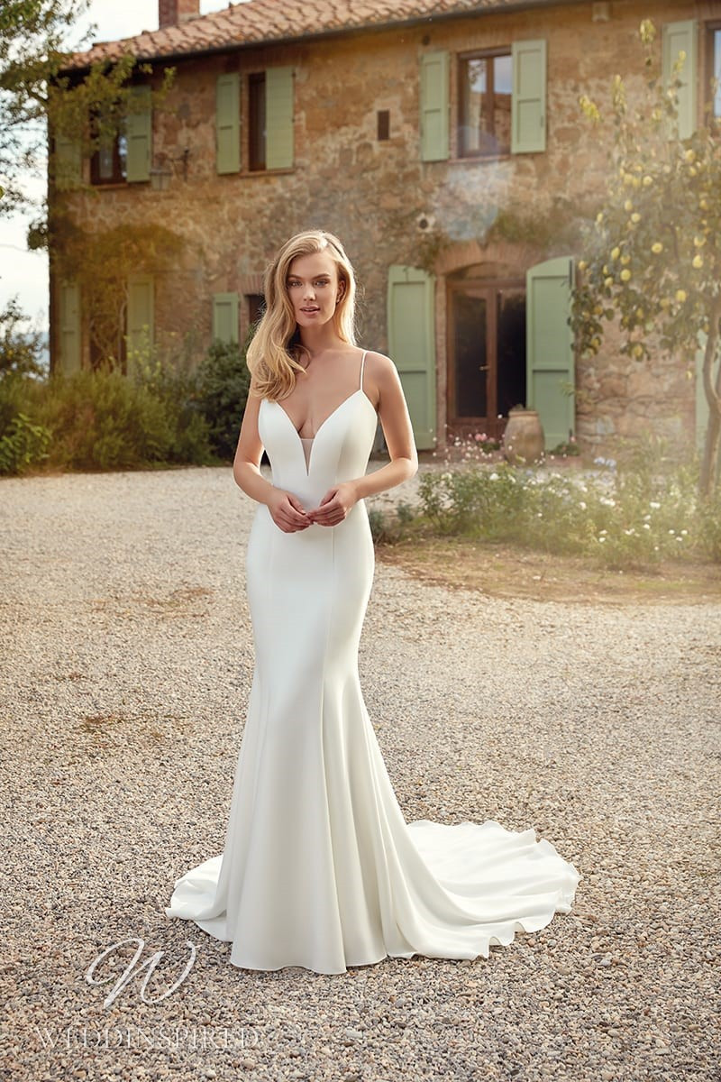 An Eddy K 2021 simple satin mermaid wedding dress