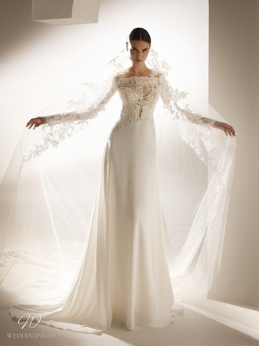 An Atelier Pronovias off the shoulder A-line wedding dress with a lace bodice and long sleeves