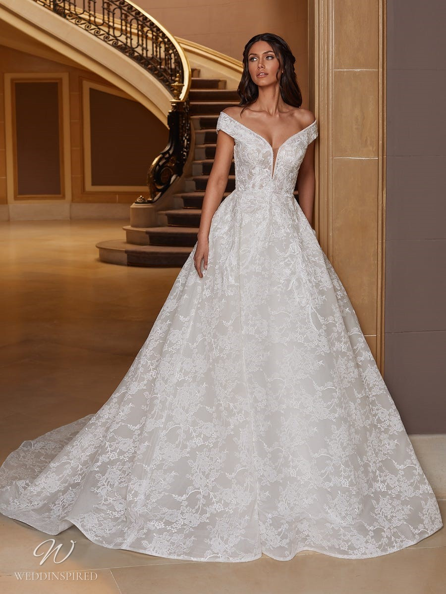 A Pronovias 2021 off the shoulder lace ball gown wedding dress