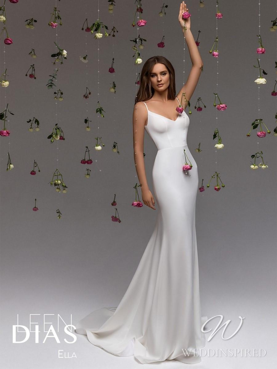 A Leen Dias 2021 simple satin mermaid wedding dress