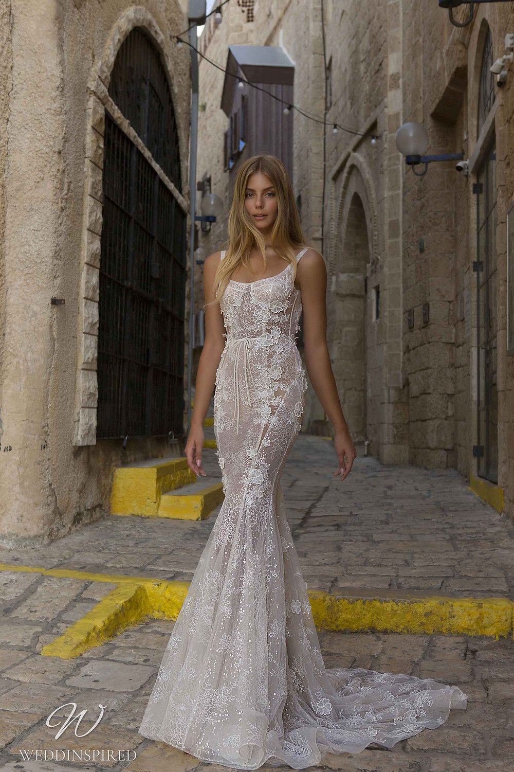 A Berta Priveé No 5 2021 nude sparkly lace mermaid wedding dress with straps