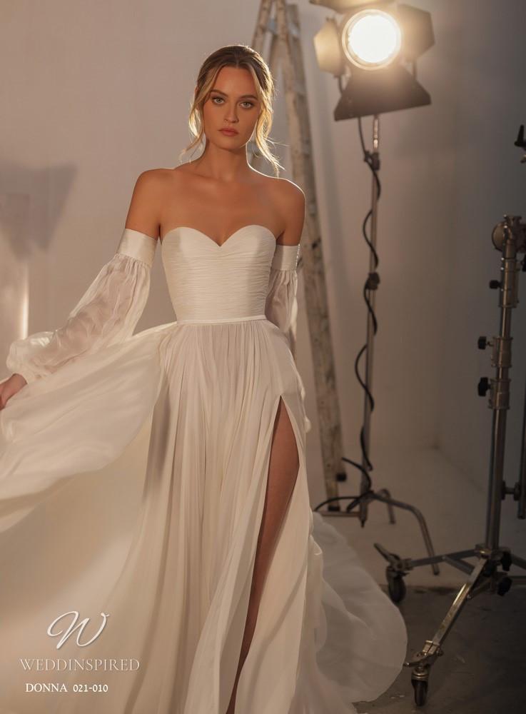 A Gali Karten 2021 strapless satin and chiffon flowy A-line wedding dress