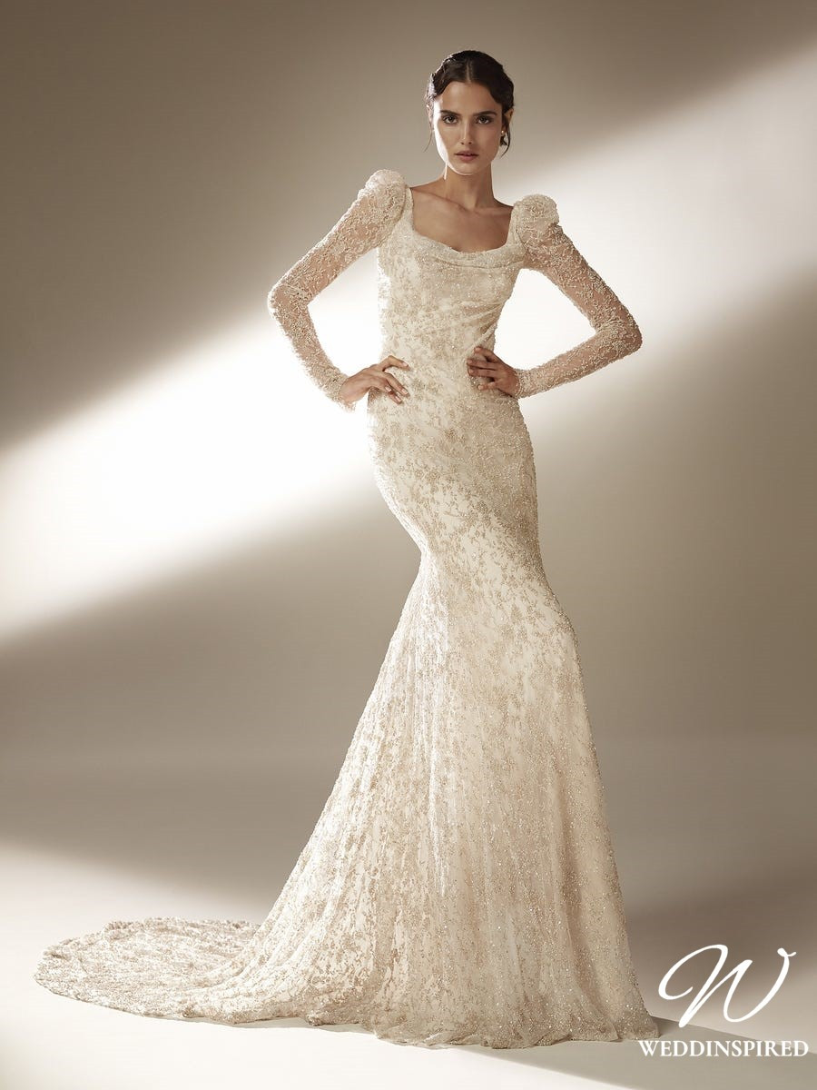 An Atelier Pronovias lace mermaid wedding dress, with a square neckline and long sleeves