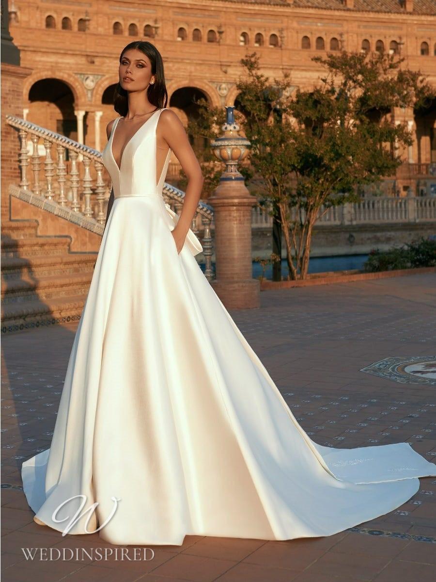 A Marchesa for Pronovias 2022 satin A-line wedding dress with pockets and a v neck