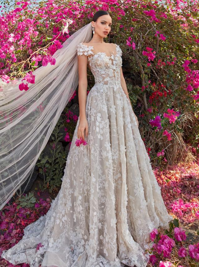 A Galia Lahav ivory off the shoulder lace ball gown wedding dress