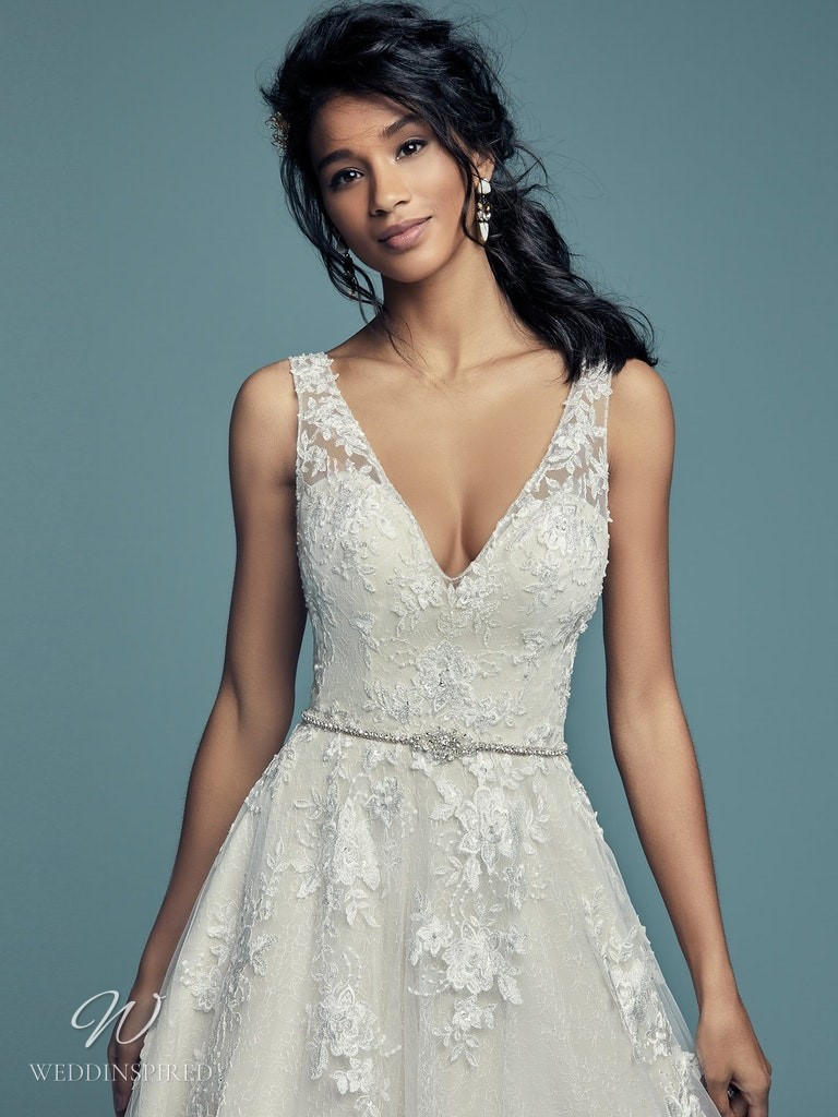 A Maggie Sottero 2021 lace A-line wedding dress with straps