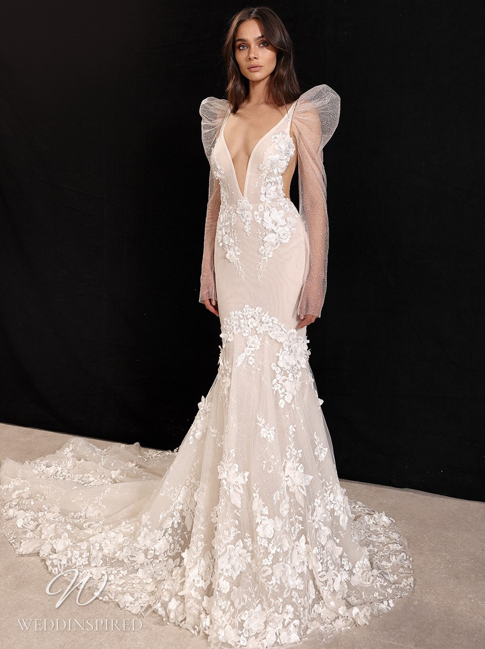 A Galia Lahav 2022 lace mermaid wedding dress with long sleeves