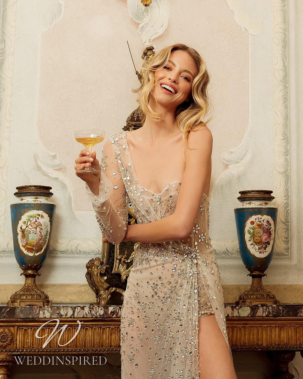 A Berta 2022 sparkly champagne one shoulder short wedding dress