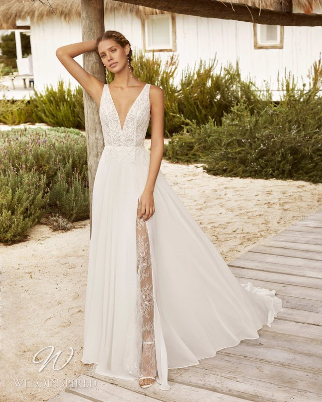 An Aire Barcelona 2021 flowy lace and chiffon A-line wedding dress