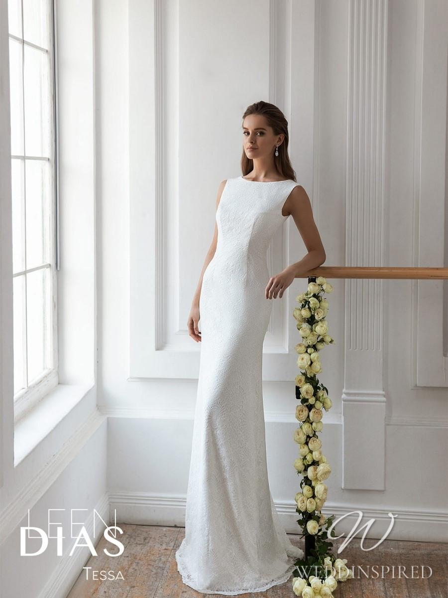 A Leen Dias 2021 simple modest lace sheath wedding dress