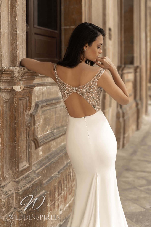 A Lussano 2021 backless satin mermaid wedding dress