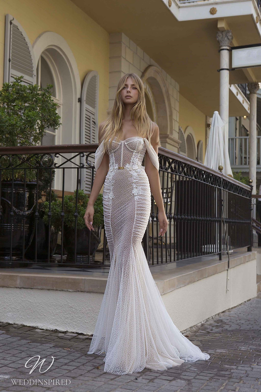 A Berta Priveé No 5 2021 nude off the shoulder mesh and tulle mermaid wedding dress